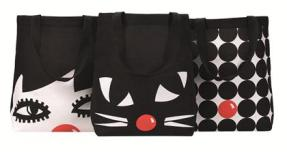 The three bags are depicted in this image doll face, kooky cat, and polka dot.
