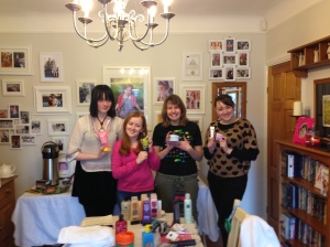 Lorna, Emily, Alice and Charlotte holding up our products of the day.