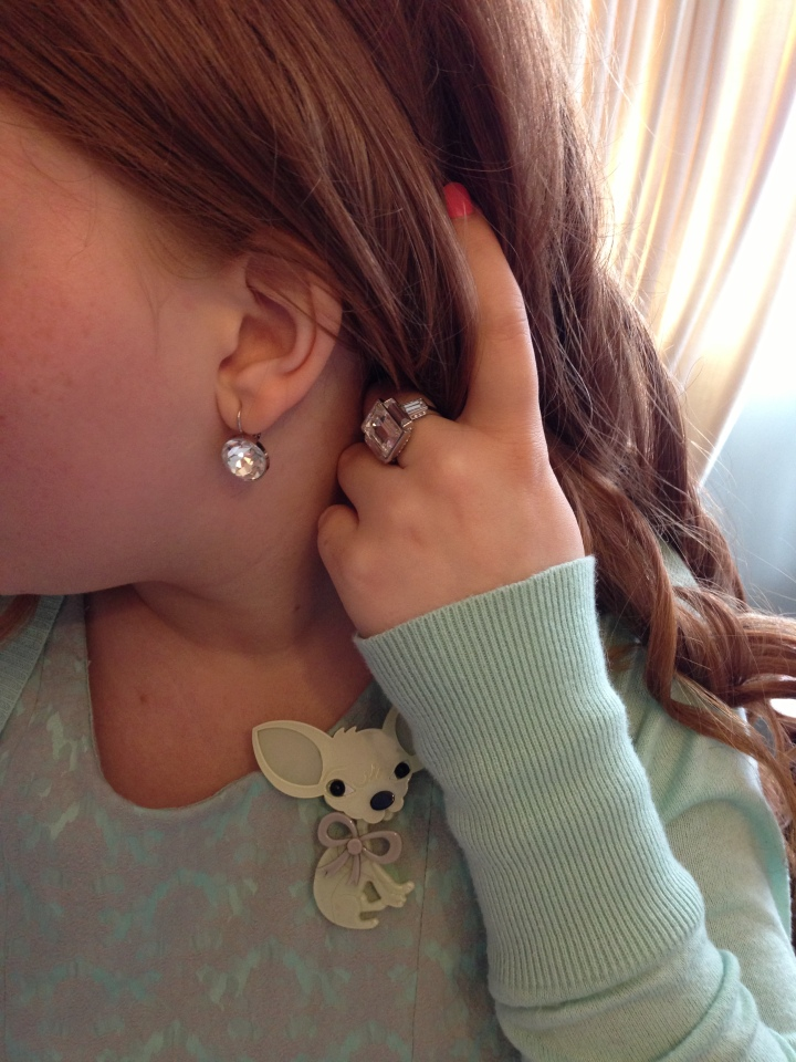 Close up of my ring and earrings