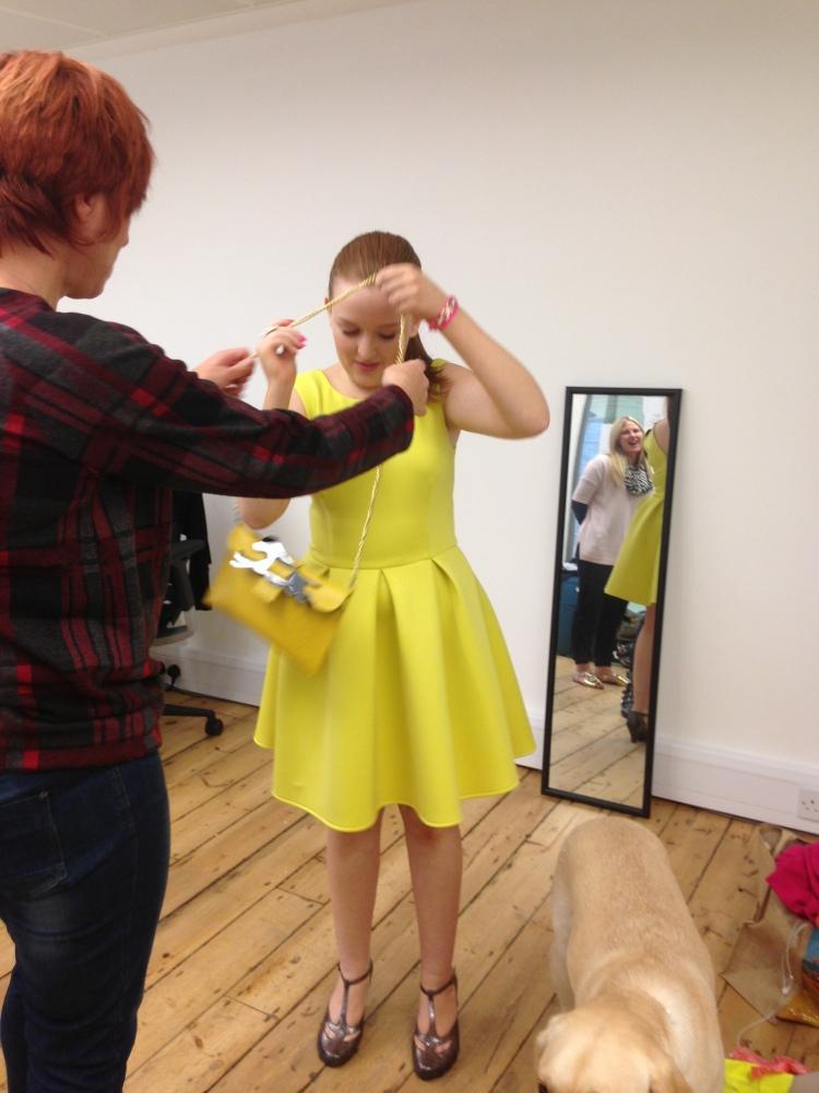 Fashioneyesta wearing ASOS dress and models own Heidi Sturgess bag