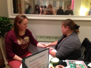 Charlotte Davies enjoying a hand massage with the chocmania body butter.