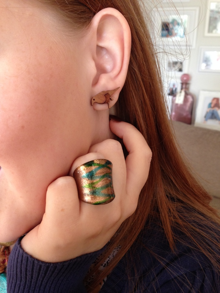 Image of vintage ring and Lady Muck Bird earrings