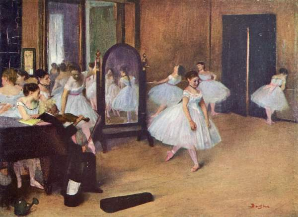 Image of the painting 'Rehearsal of a Ballet on a Stage'