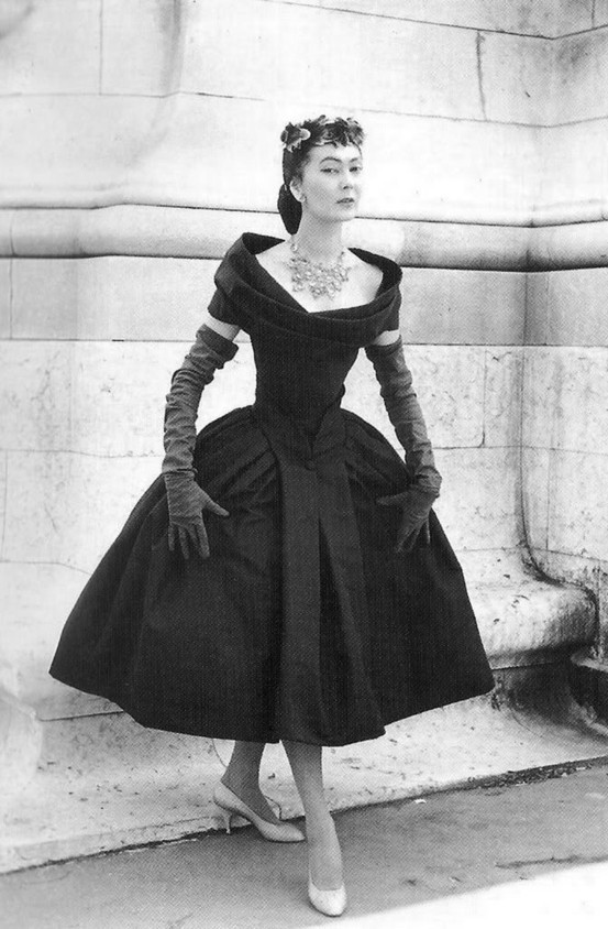 A black and white image of the Christian Dior New Look dress