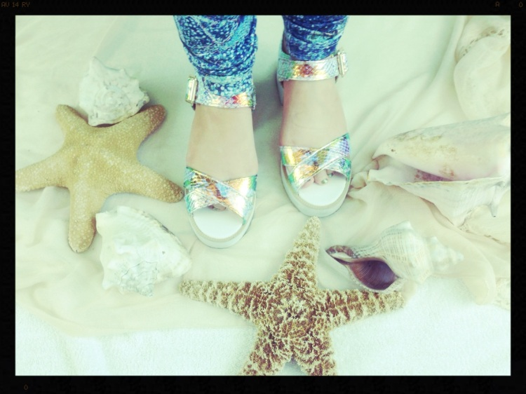 An image of me wearing my Mermaid inspired shoes