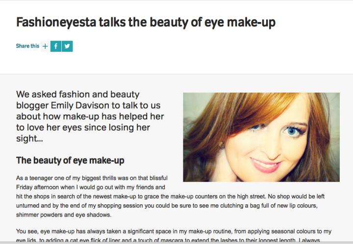 Screen Shot of my RNIB Blog Post