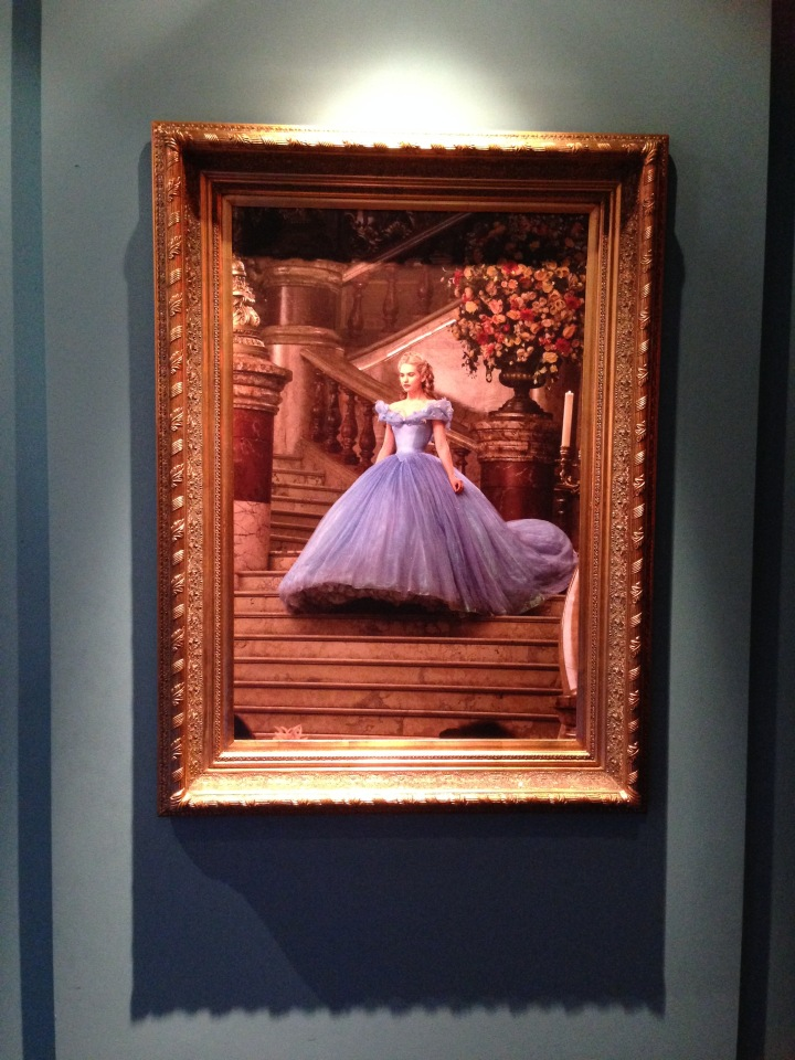 Image of a painting from the film depicting Cinderella walking down a flight of steps