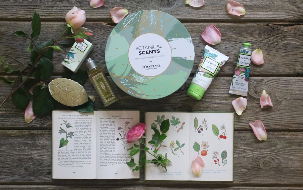 A flatlay photo of the Botanical Secrets gift set on a wooden surface surrounded by rose petals and 2 botanical illustrated books.